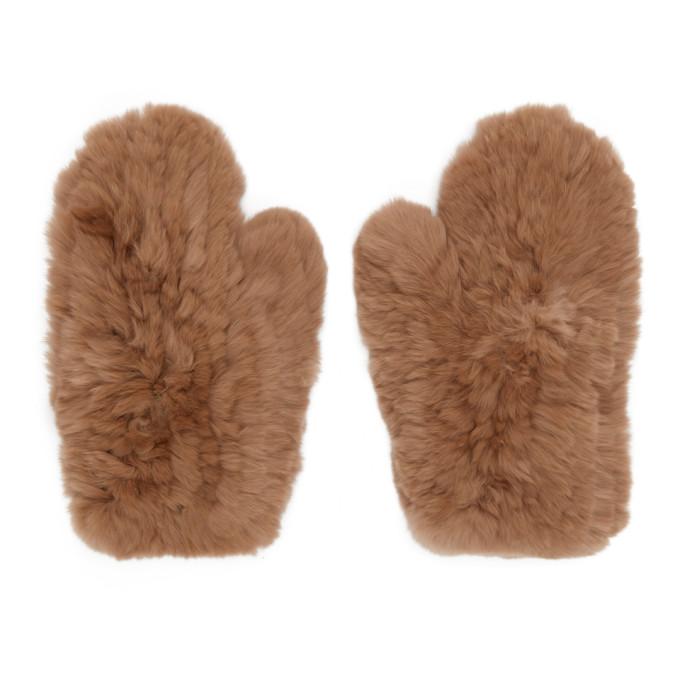 Image of Yves Salomon Beige Fur Handwarmer Gloves