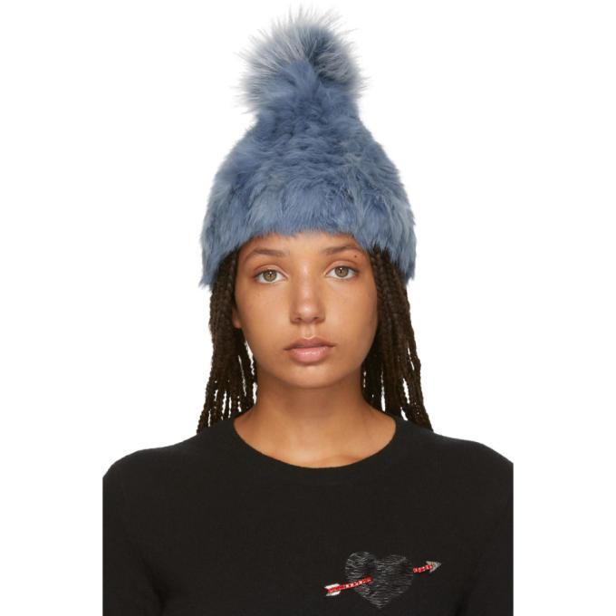 c3147ce6e1d Yves Salomon Blue Knitted Rabbit Pom Pom Beanie