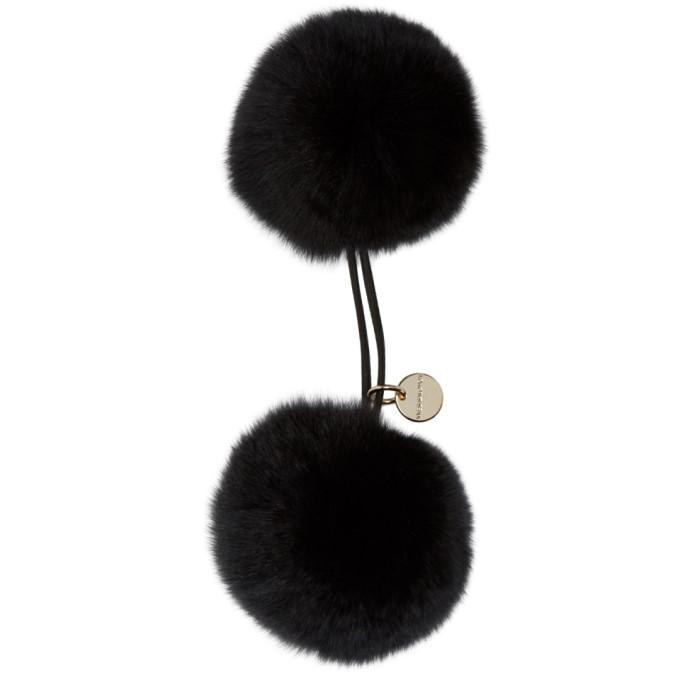Image of Yves Salomon Black Double Pom Hair Tie