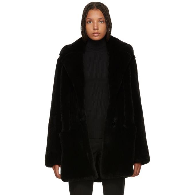 Image of Yves Salomon Black Fur Notched Lapel Coat