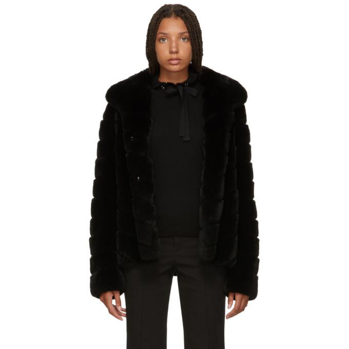 Image of Yves Salomon Black Fur Jacket