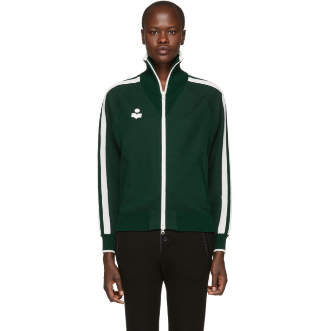 ETOILE ISABEL MARANT Isabel Marant Etoile Green Darcey Zip-Up Sweater in 67Dg Dk Gre