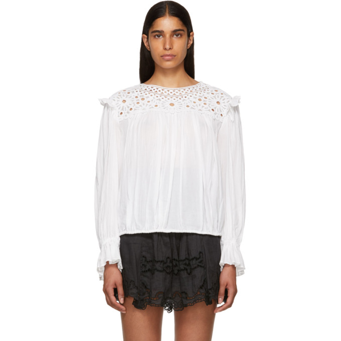 ISABEL MARANT ETOILE WHITE BRODERIE ANGLAISE ROCK BLOUSE