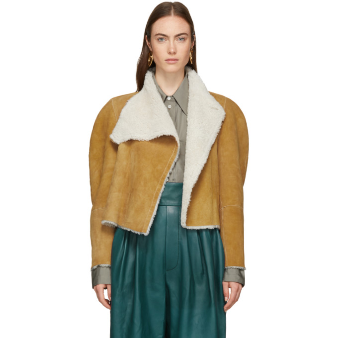 Acacia Reversible Shearling And Suede Jacket in Camel