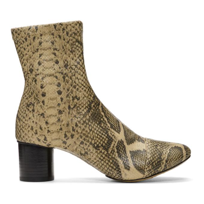 Isabel Marant Tan & Black Snakeskin Stretch Boots