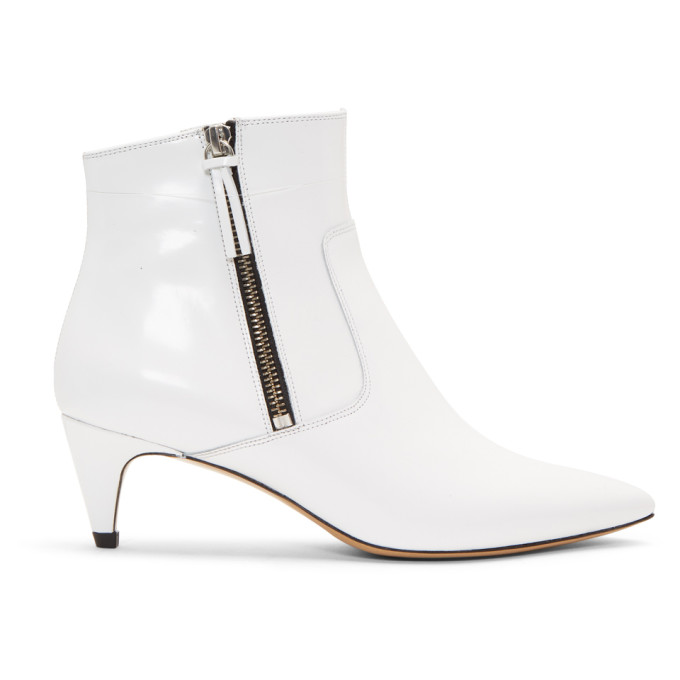 ISABEL MARANT WHITE DEBY ANKLE BOOTS