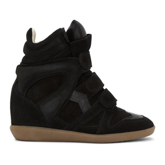 Isabel Marant Black Beckett Wedge Sneakers