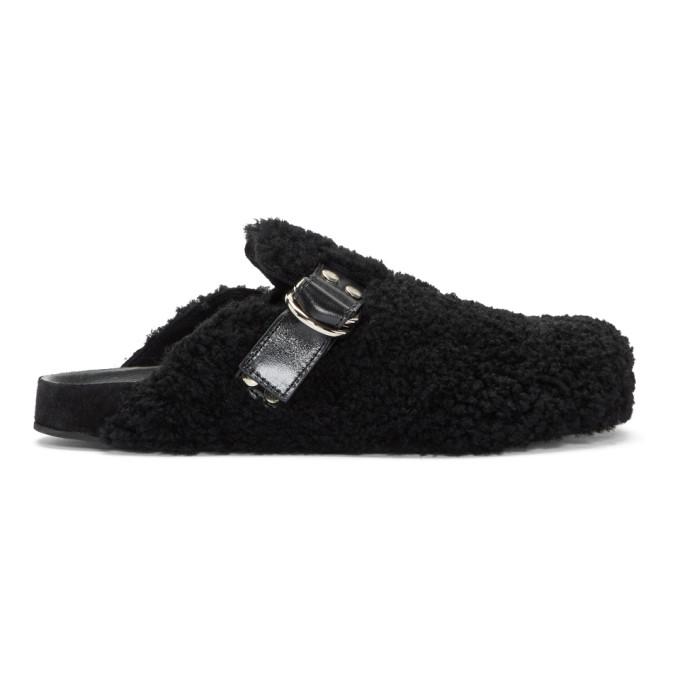 Isabel Marant Black Shearling Murfee Slip-On Loafers