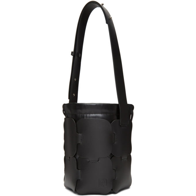 Image of Paco Rabanne Black Small Calfskin Hobo Bag