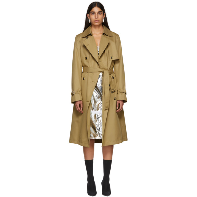 Paco Rabanne Tan Double-Breasted Trench Coat in 013 Kraft