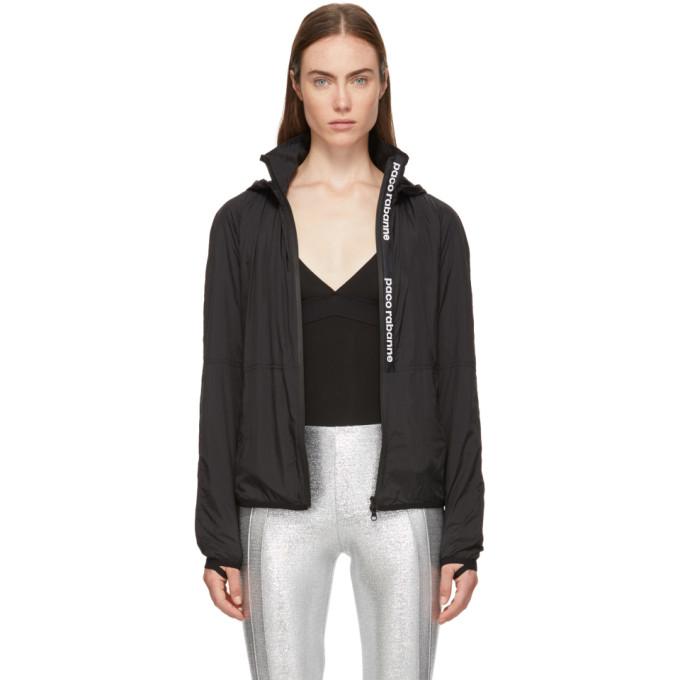 Image of Paco Rabanne Black Nylon Bodyline Windbreaker Jacket