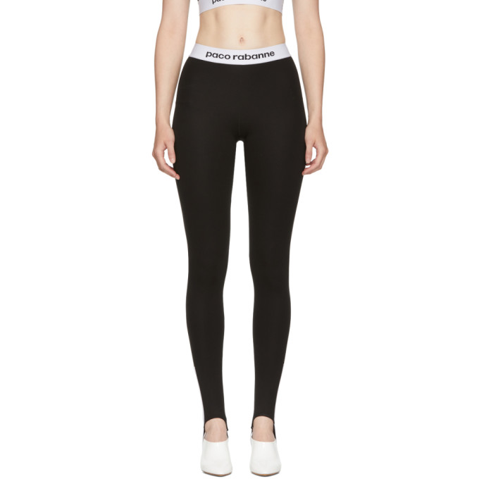 Image of Paco Rabanne Black Elasticized Stirrup Leggings