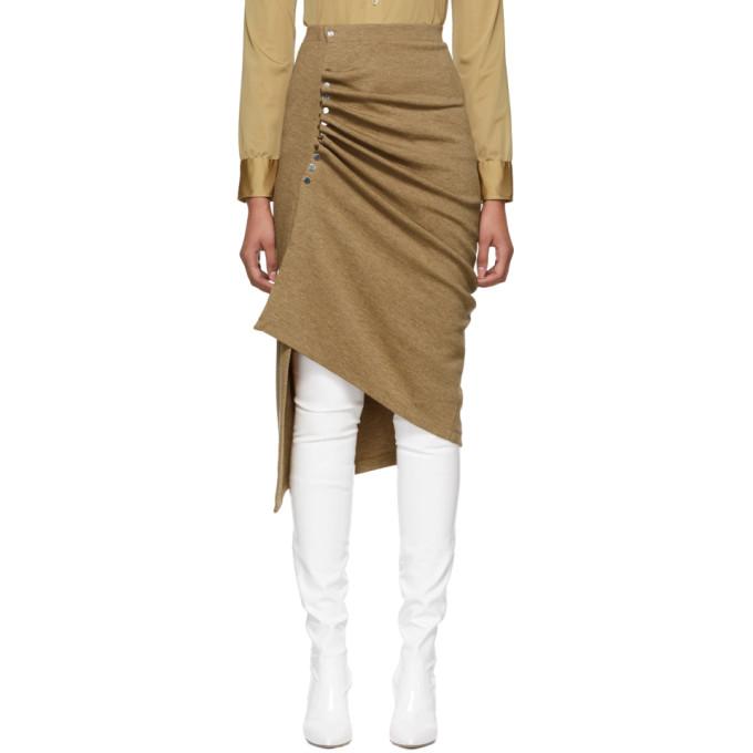 Image of Paco Rabanne Brown Wool Draped Skirt