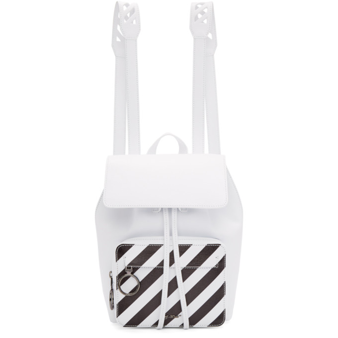 Off-White White Mini Diagonal Backpack