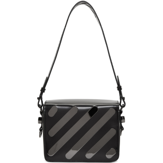 Off-White Black Diagonal Metal Flap Bag