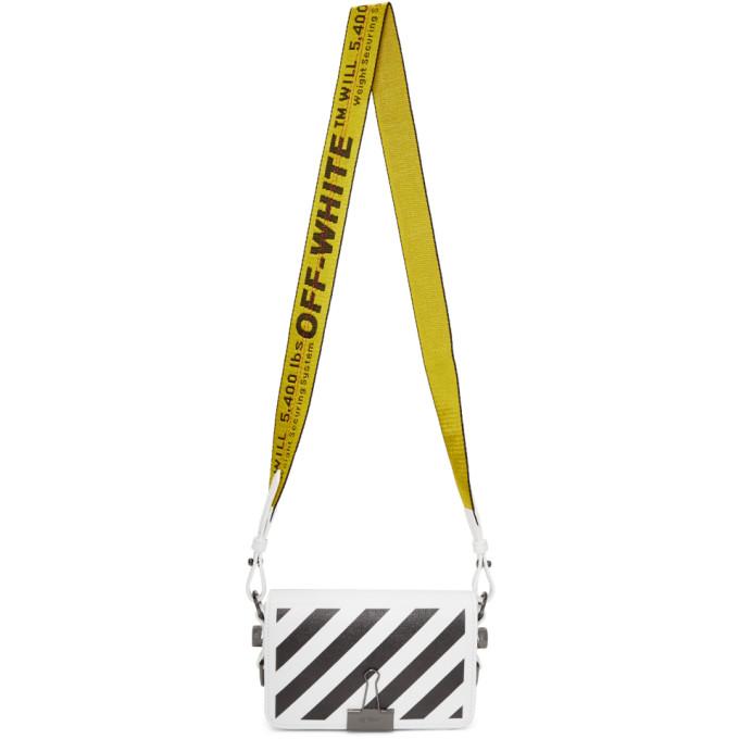 Off-White White Diagonal Mini Binder Clip Flap Bag