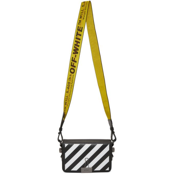 Off-White Black Diagonal Mini Binder Clip Flap Bag