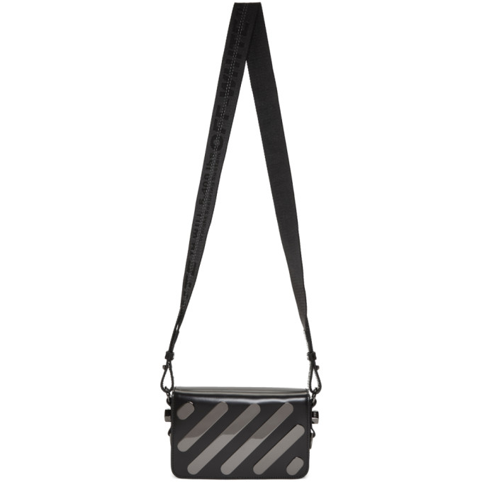 Off-White Black Diagonal Metal Mini Flap Bag