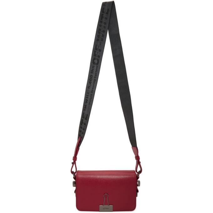 Off-White Red Mini Binder Clip Flap Bag