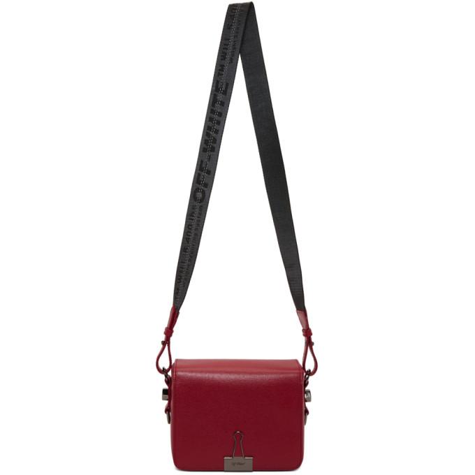 Off-White Red Binder Clip Flap Bag
