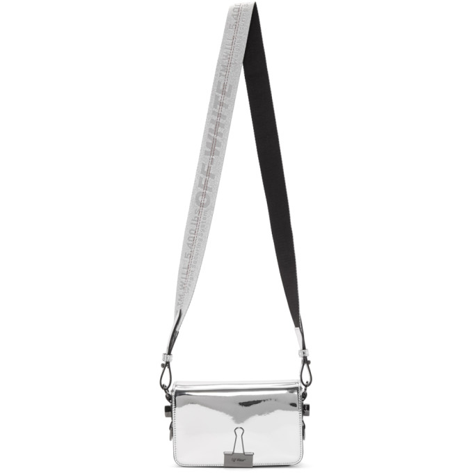 Off White Silver Mirror Mini Flap Bag