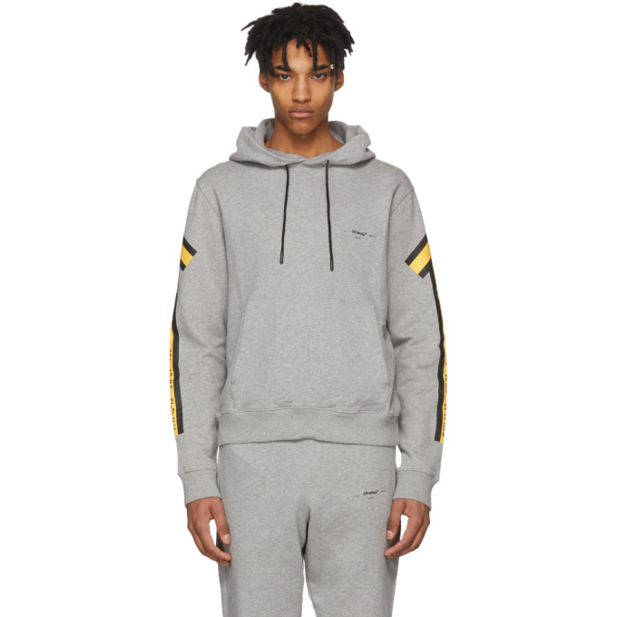 Off-White Grey & Yellow Arrows Hoodie