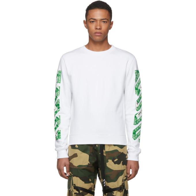 Off White Ssense Exclusive White 3d Diagonal Sweatshirt