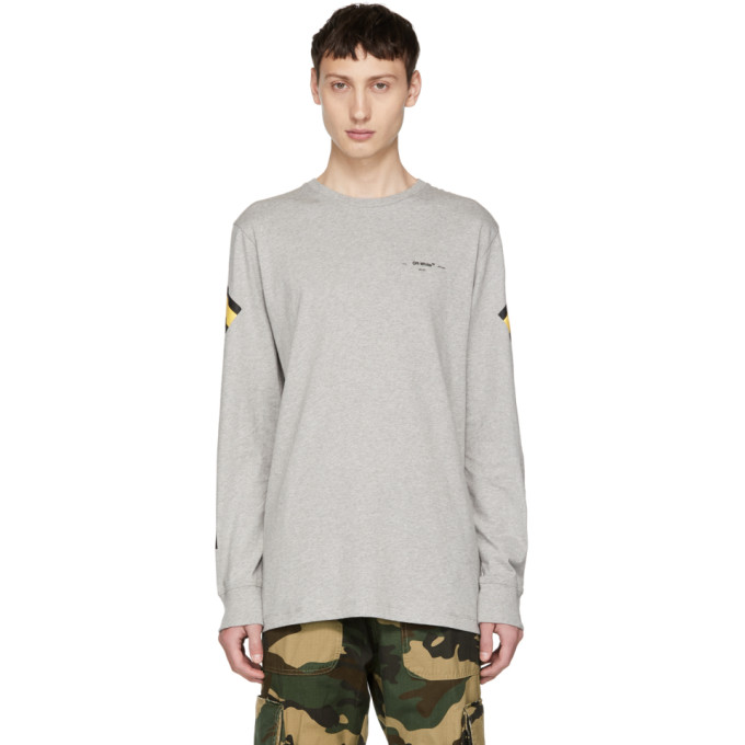 Off-White Grey Long Sleeve Arrows T-Shirt