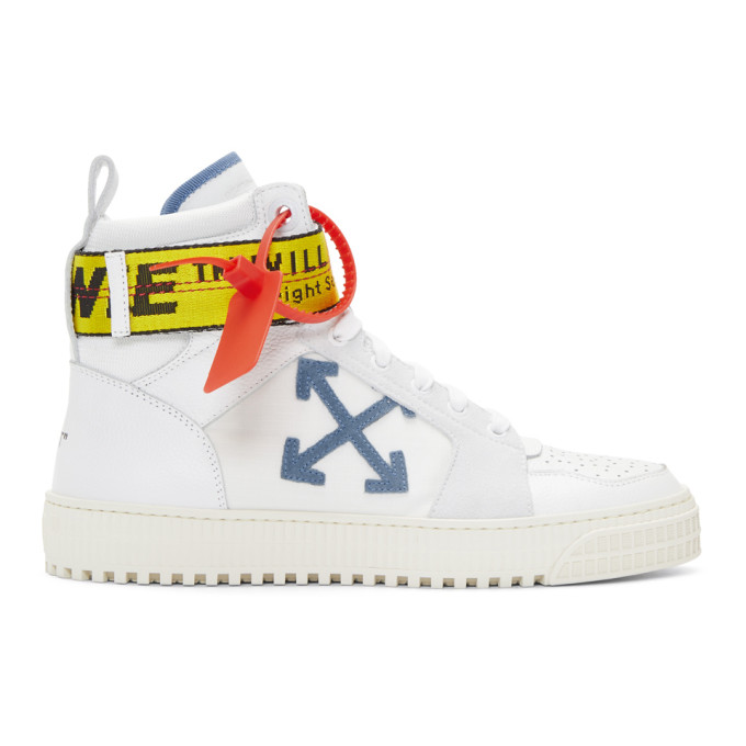 Off-White White & Blue Industrial High-Top Sneakers