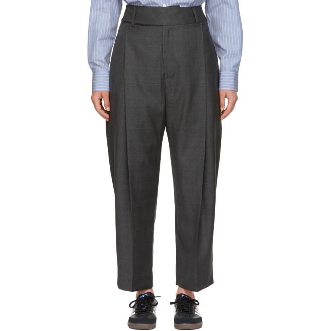 Image of Studio Nicholson Grey Twist Pleat Trousers