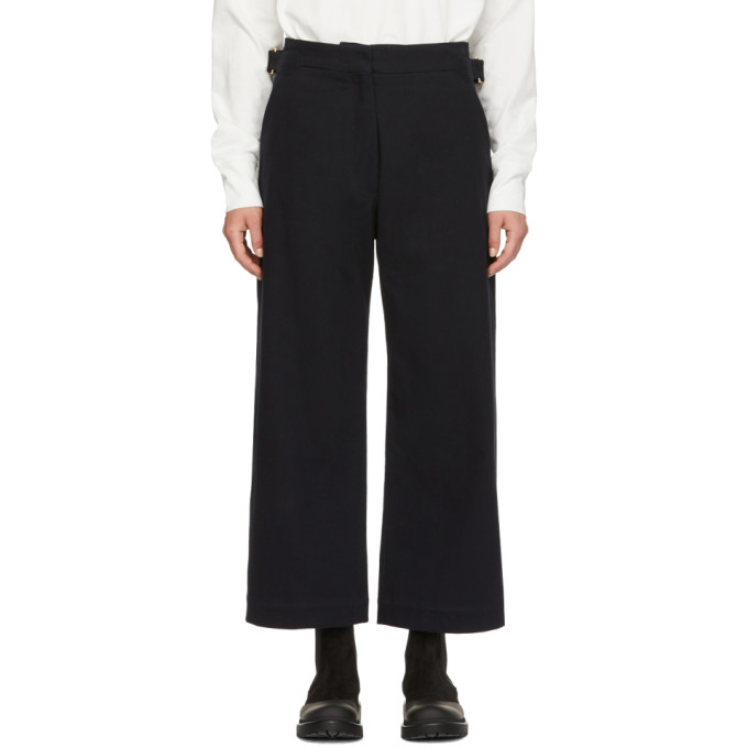 Studio Nicholson Navy Brace Trousers in Dark Navy