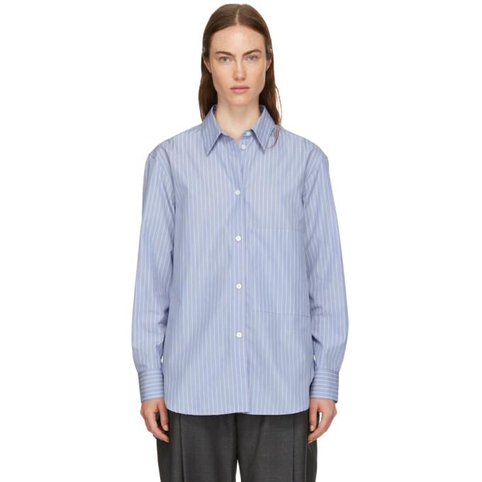 Image of Studio Nicholson Blue Stripe Side Pocket Shirt