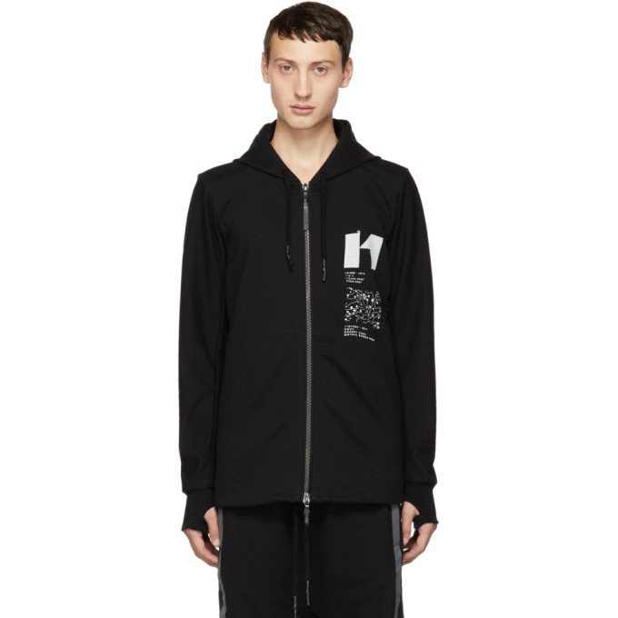 11 by Boris Bidjan Saberi Black Graphic Design Zip Up Hoodie