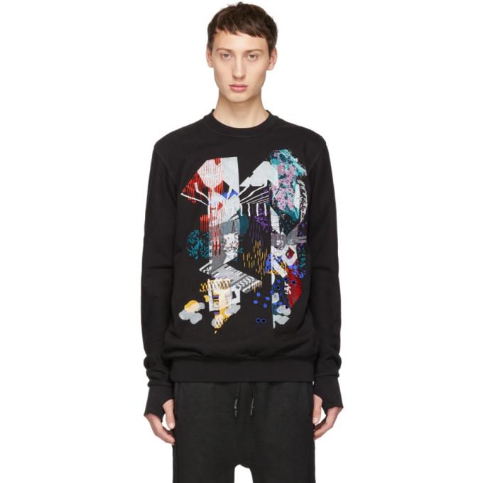 11 by Boris Bidjan Saberi Black Embroidered Design Sweatshirt