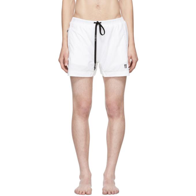 Image of 11 by Boris Bidjan Saberi White Embroidered Logo Swim Shorts