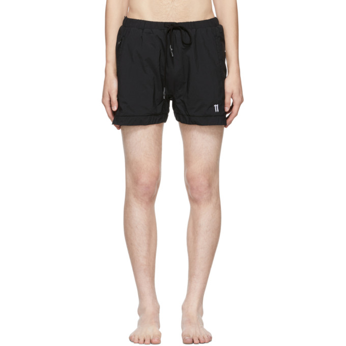 11 by Boris Bidjan Saberi Black Embroidered Logo Swim Shorts