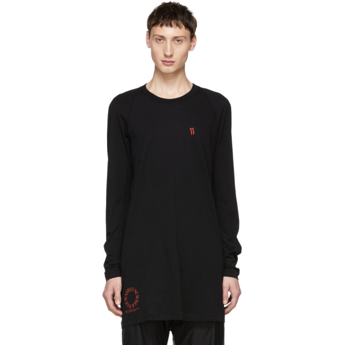 11 by Boris Bidjan Saberi Black The Master Number Long T Shirt