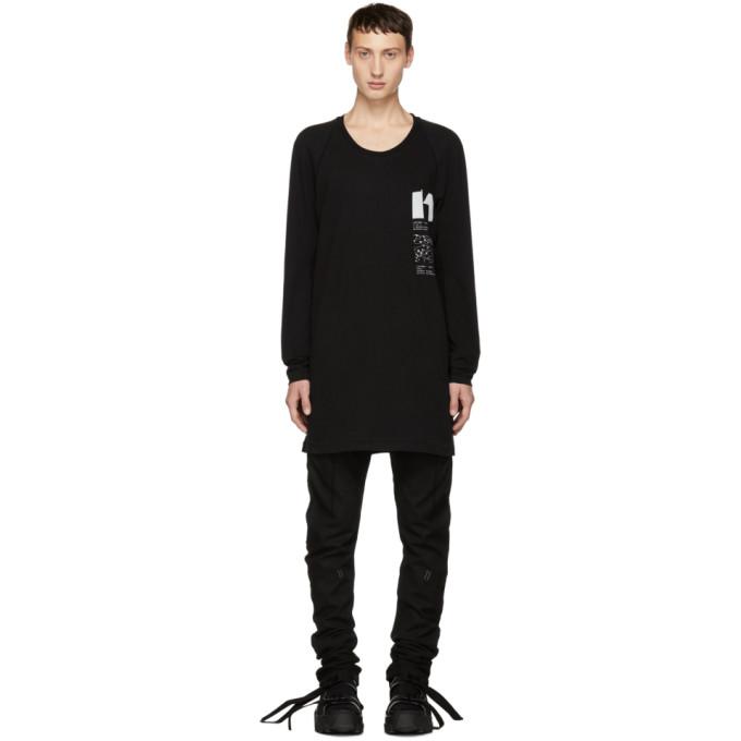 11 by Boris Bidjan Saberi Black Graphic Design Long T Shirt