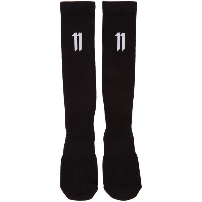 11 by Boris Bidjan Saberi Three Pack Black Ribbed Small Logo Socks