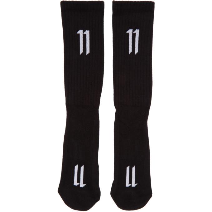 11 by Boris Bidjan Saberi Three Pack Black Ribbed Logo Socks