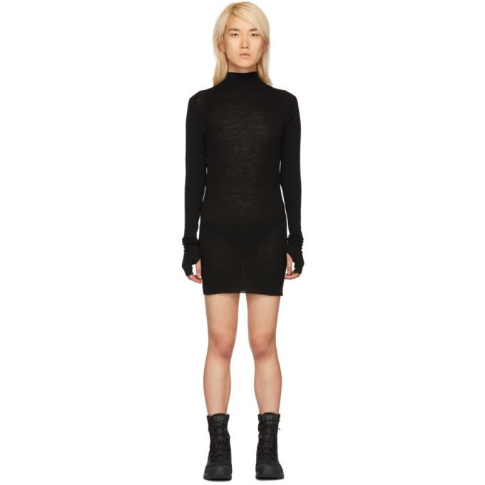 Boris Bidjan Saberi Black Rib Turtleneck Dress
