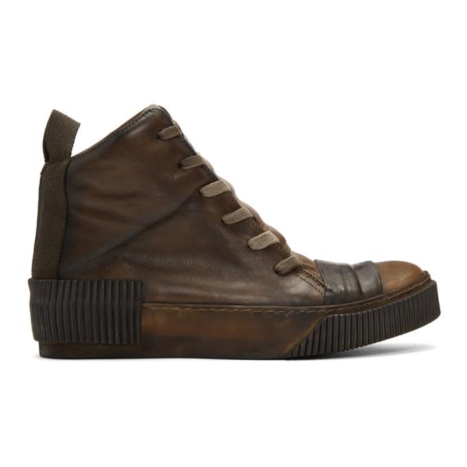 BORIS BIDJAN SABERI Boris Bidjan Saberi Brown Kangaroo Sneakers in Oil Brown