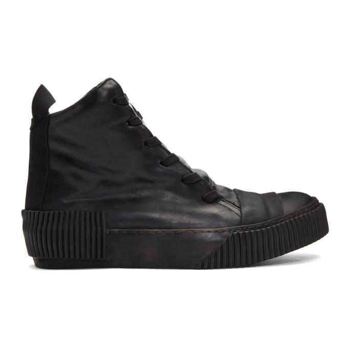 BORIS BIDJAN SABERI Boris Bidjan Saberi Black Leather High-Top Sneakers