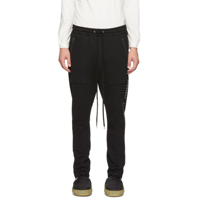 Image of Diet Butcher Slim Skin Black Embroidered Jogger Lounge Pants