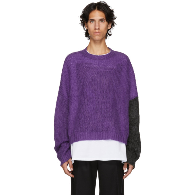 JOHNLAWRENCESULLIVAN Johnlawrencesullivan Purple And Grey Knit Sweater