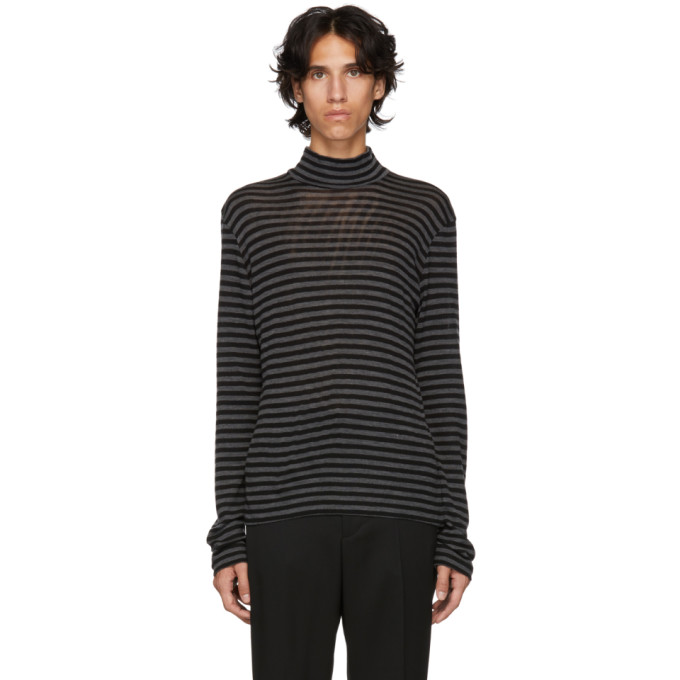 JOHNLAWRENCESULLIVAN Johnlawrencesullivan Black And Grey Wool Mock Neck Sweater