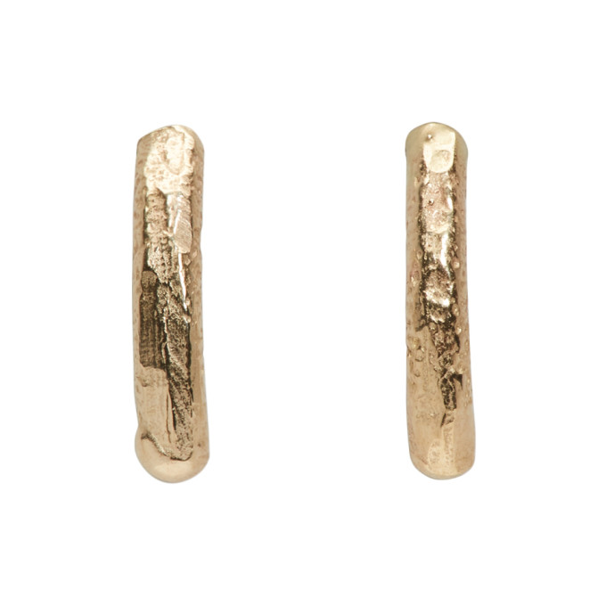 PEARLS BEFORE SWINE Pearls Before Swine Gold Small Textured Earrings in Yellow Gold