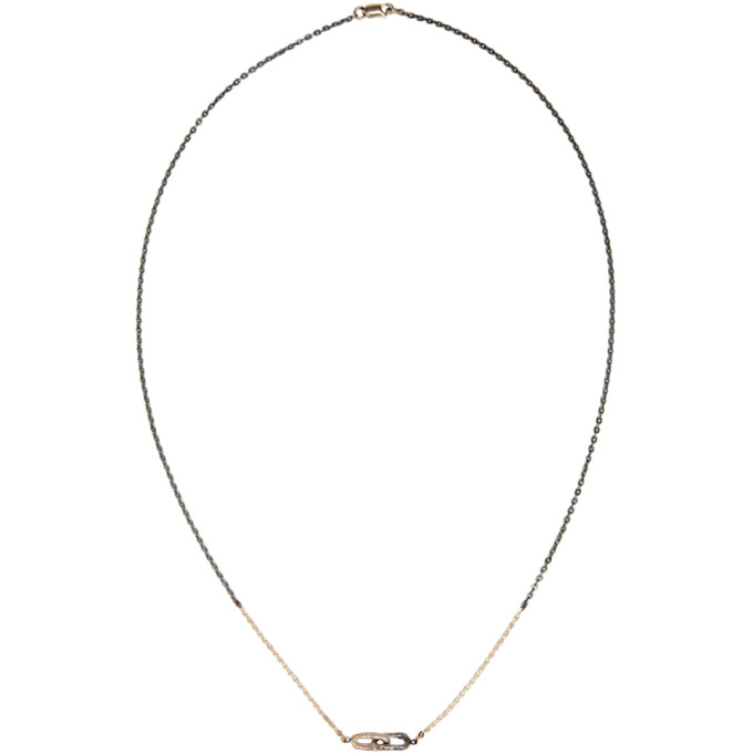 PEARLS BEFORE SWINE Pearls Before Swine Silver And Gold Double Link Necklace in Yellow Gold