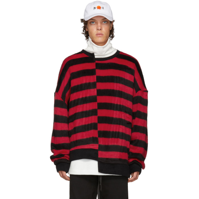 Image of D by D Black & Red Unbalanced Striped Sweater