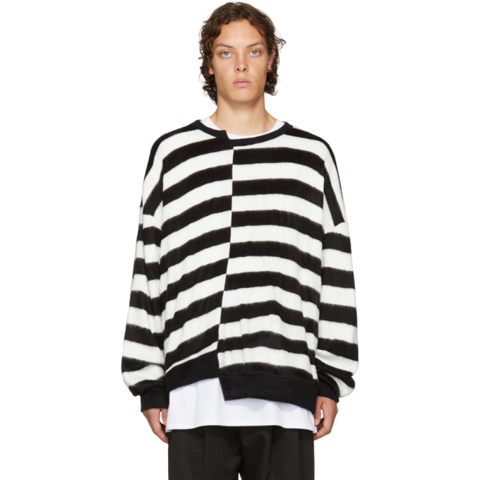 D BY D D By D Black And White Unbalanced Striped Sweater in Whiteblack